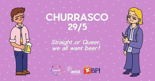 Cartaz 3.º Churrasco QueerIST | NOVA DATA - 29 de maio 2019 Lisboa