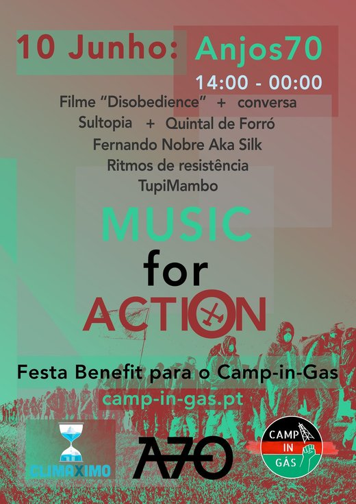 Cartaz Benefit party Camp-in-Gás | Music for Action 10 Junho 2019 Lisboa