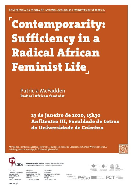 Cartaz Contemporarity: Sufficiency in a Radical African Feminist Life 27 Janeiro 2020 CES Coimbra