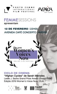 Cartaz FEMME Sessions #11 | Avenida Café Concerto - Aveiro 12 Fevereiro 2020 PORTO FEMME - International Film Festival
