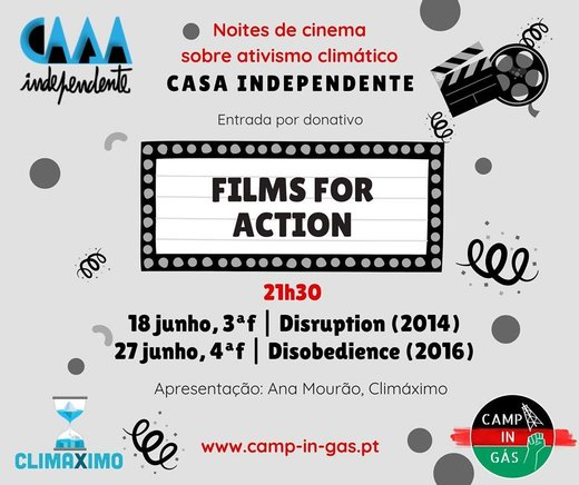 Cartaz Films for Action Cinema ativista na Casa Independente 18 e 27 Junho 2019 Lisboa